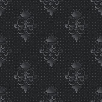装飾的なダマスク織のシームレスなパターン暗い