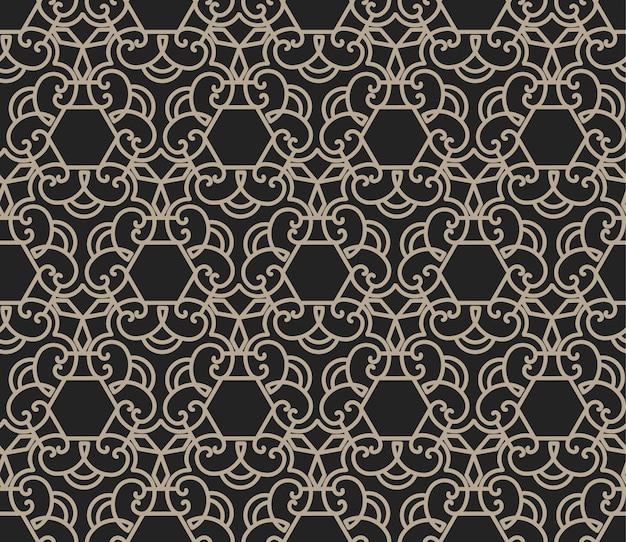 飾りと六角形のシームレスパターン