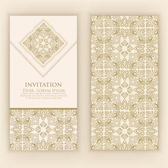 黄金の詳細と招待状のテンプレート