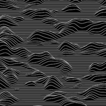 山を作る波線とストリップの背景