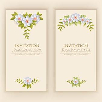 エレガントな花の装飾と招待状カードのテンプレート