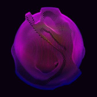 暗い背景にグラデーションメッシュ球