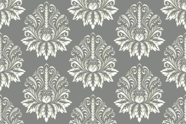 Дамаск бесшовные рельефный узор фона. урожай изысканный цветочный шаблон барокко.