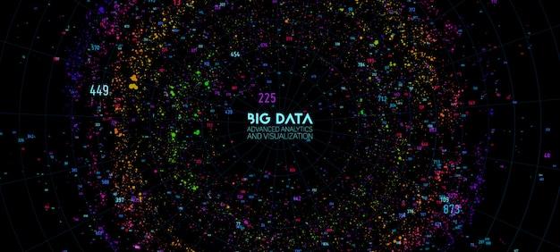 ビッグデータクラウドの視覚化。未来的なインフォグラフィック。情報クラウドコンピューティング。視覚的なデータの複雑さ。複雑なビジネスグラフ分析。ソーシャルネットワークの表現。抽象データグラフ。