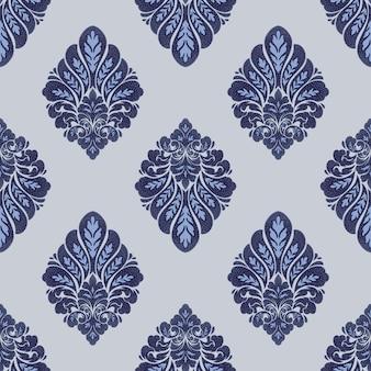ダマスク織のシームレスなパターン要素。ベクトルクラシックな高級昔ながらのダマスク織の飾り、壁紙、テキスタイル、ラッピングのロイヤルビクトリア朝のシームレスなテクスチャ。ヴィンテージの絶妙な花のバロックテンプレート。