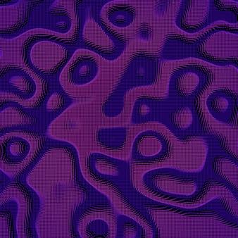 暗い背景に抽象的なバイオレットカラフルな歪んだメッシュ平面。未来的なスタイルのカード。ビジネスプレゼンテーションのエレガントな背景。破損したポイント平面。カオスの美学。