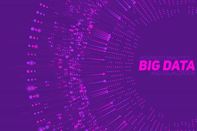 Большая круговая фиолетовая визуализация данных. визуальная сложность данных. абстрактный граф данных