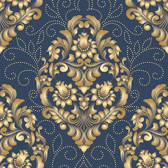 ベクトルダマスクシームレスパターン要素。クラシックで豪華な昔ながらのダマスク織の飾り、ロイヤルビクトリア朝のシームレスな壁紙