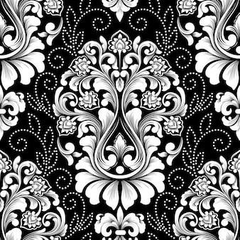 ベクトルダマスクシームレスパターン。絶妙な花のバロック壁紙。