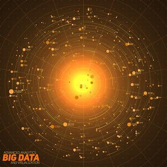 ビッグデータのオレンジ色の視覚化。視覚的なデータの複雑さのグローバルネットワーク。複雑なデータスレッドのグラフィック。ソーシャルネットワークの表現。抽象データグラフ。
