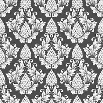 ベクトルダマスクシームレスパターン。古典的な豪華な昔ながらのダマスク織の飾り、ロイヤルビクトリア朝の壁紙