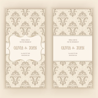 ダマスク織の飾りと結婚式の招待カードテンプレート