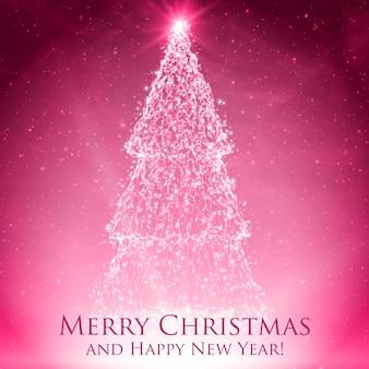 カラフルな赤いグリーティングカードにバックライトと輝く粒子で輝くクリスマスツリー。