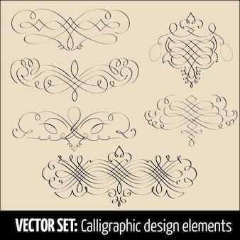 Векторный набор каллиграфических элементов оформления страницы. элегантные элементы для вашего дизайна.