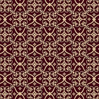 Векторные дамасской бесшовные фоном шаблон. классический роскошный старомодный дамасский орнамент, королевская викторианская бесшовная текстура для обоев, текстиль, упаковка. изысканный цветочный шаблон в стиле барокко.