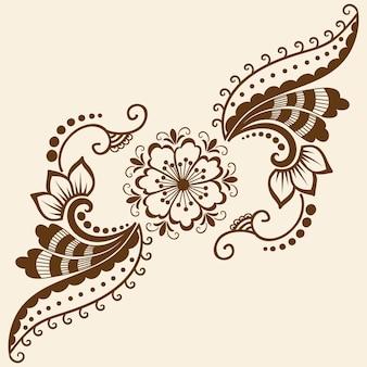 メーンディの装飾のベクトル図。伝統的なインディアンスタイル、ヘナのタトゥー、ステッカー、メッディとヨガのデザインのための装飾的な花の要素、カードとプリント。抽象的な花のベクトルのイラスト。