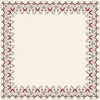 ベクトル細かい花の正方形のフレーム。招待状やカードのための装飾的な要素。境界要素
