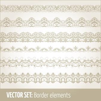 境界要素とページの装飾要素のベクトルセット。ボーダーの装飾要素のパターン。エスニックボーダーイラストベクトル。