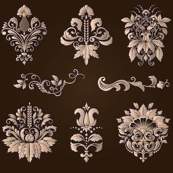 Векторный набор дамасской декоративных элементов. элегантные цветочные абстрактные элементы для дизайна. идеально подходит для приглашений, карточек и т. д.