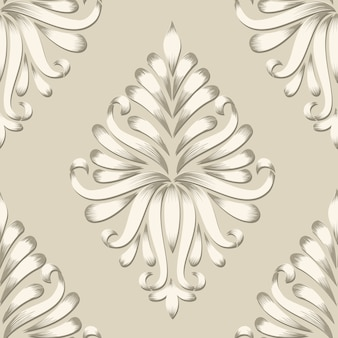 ベクトルダムシームレスパターン要素。古典的な高級古風なダマスクの装飾、壁紙、繊維、ラッピングのためのロイヤルビクトリアシームレステクスチャ。絶妙な花のバロック様式のテンプレート。