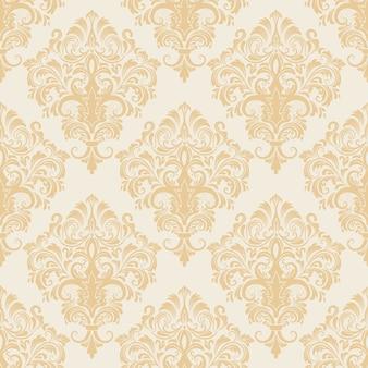 ベクトルダムシームレスパターンの背景。古典的な高級古風なダマスクの装飾、壁紙、繊維、ラッピングのためのロイヤルビクトリアシームレステクスチャ。絶妙な花のバロック様式のテンプレート。