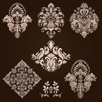 ダマスクの装飾的な要素のセット