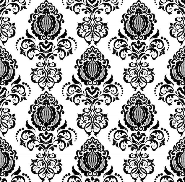 ダマスクのシームレスなパターンの背景