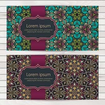 アラビア風の装飾が施された結婚式招待状と発表カード