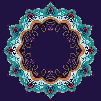 ダマスクとアラベスクの要素を持つ装飾的なラウンドレース