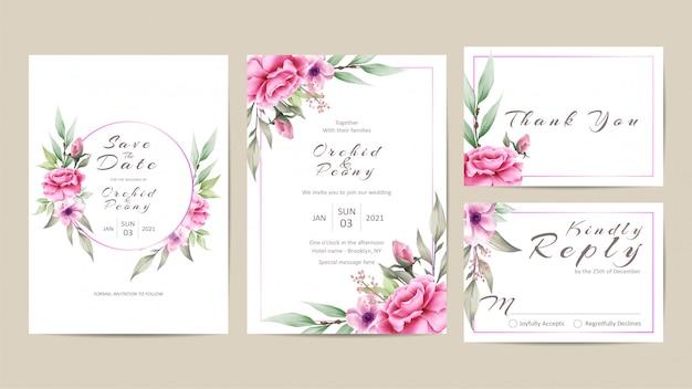 バラと牡丹の美しい花の結婚式の招待状のテンプレートセット