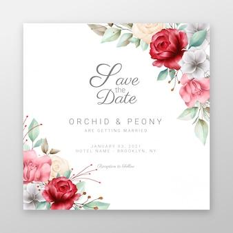 美しい花の境界線を持つ正方形の結婚式の招待カード