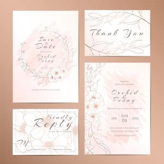 輪郭を描かれたスタイリッシュな花と結婚式の招待状のテンプレートのセット