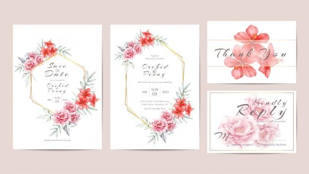 幾何学的なゴールデンフレーム入り花結婚式招待状のテンプレート