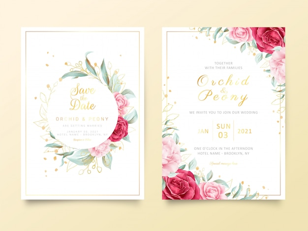 水彩花と金色キラキラ装飾入り結婚式招待状カードのテンプレート
