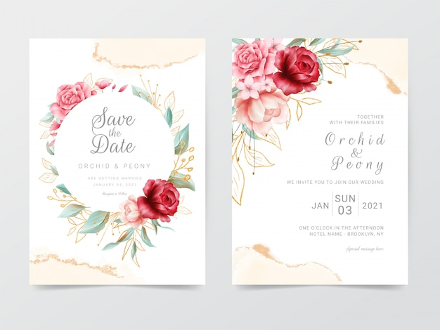 花のフレームと水彩の結婚式の招待カードテンプレート