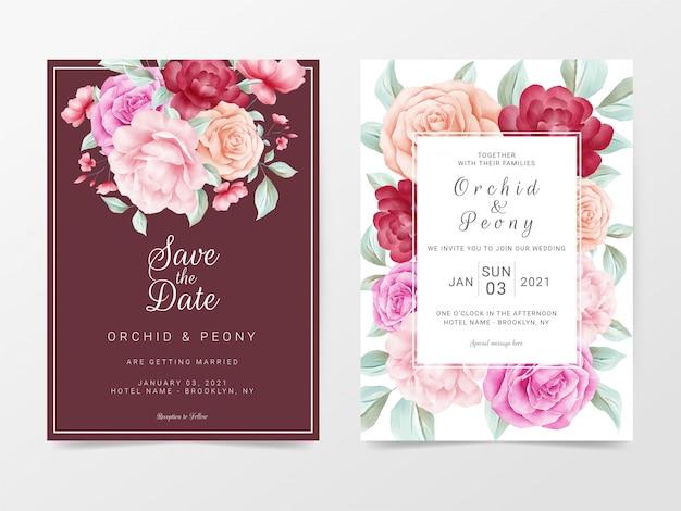 Цветочные свадебные приглашения шаблон с акварельными цветами декоративные