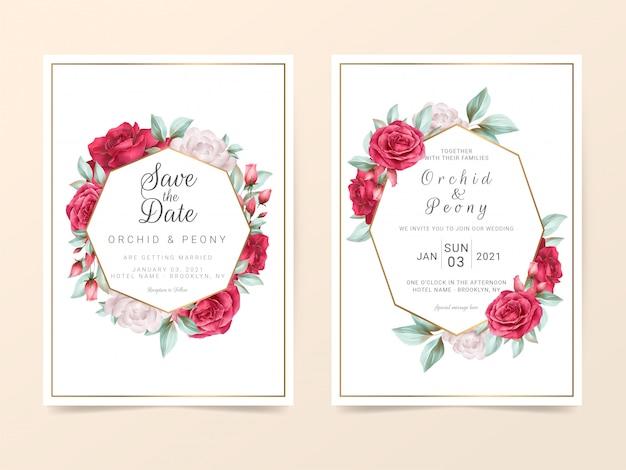 水彩花と花のフレームの結婚式の招待カードテンプレート