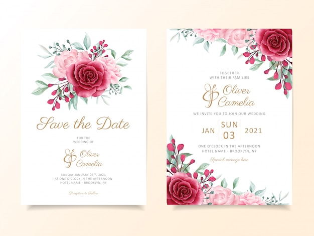 花の花束とボーダー入り結婚式招待状カードのテンプレート