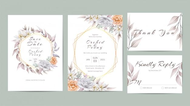 美しい花の結婚式の招待状のテンプレートセット