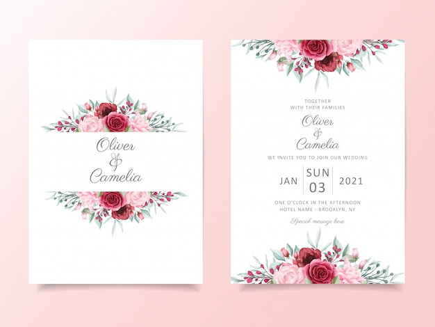 Цветочный шаблон свадебного приглашения с акварельными цветами границы украшения