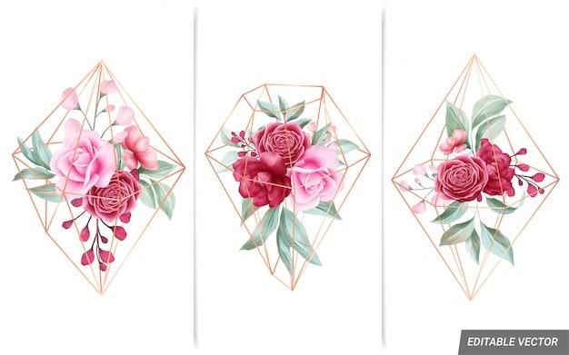 カードの組成の形をした幾何学的なゴールデンダイヤモンドと水彩のフラワーアレンジメント