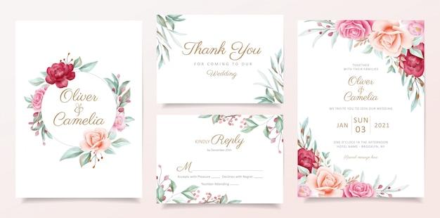 水彩花のフレームとボーダー入り結婚式招待状カードのテンプレート