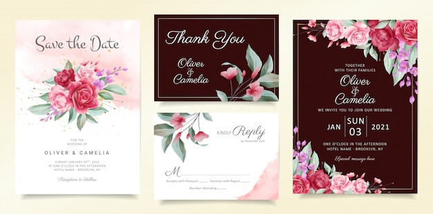 花の花束と境界線の花結婚式招待状カードテンプレートセット