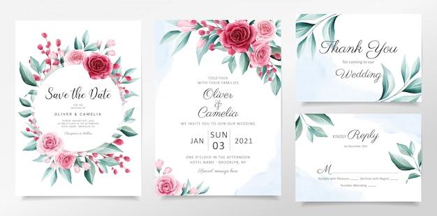 花の装飾で設定されたエレガントな水彩画の植物結婚式招待状カードのテンプレート。