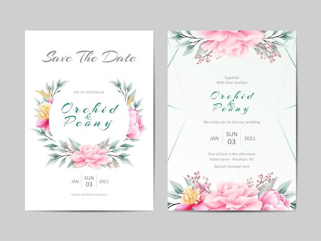 ピンクの花入りかわいい結婚式招待状のテンプレート