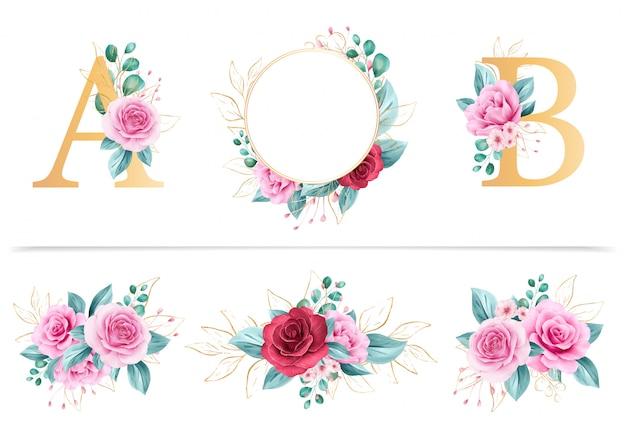 花のフレーム、花のアルファベット、フラワーアレンジメントの水彩花バンドル