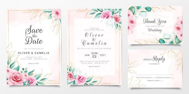 水彩花とゴールドのキラキラ装飾入りエレガントな結婚式の招待カードテンプレート