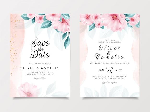 花と水彩の背景で設定されたロマンチックな結婚式の招待カードテンプレート