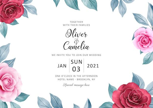 多目的結婚式招待状カードテンプレートの植物の背景
