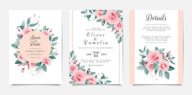 花のフレームとボーダー入りの美しい結婚式の招待カードテンプレート